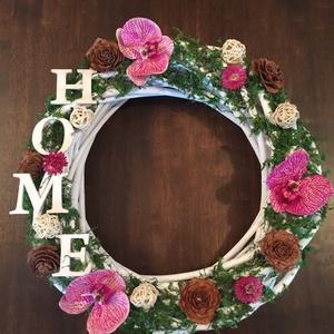 Orchideás kopogtató, Dekoráció, Otthon, lakberendezés, Dísz, Ajtódísz, kopogtató, Virágkötés, Mindenmás, Fehér vessző koszorúra ragasztottam mohát, mű orchideát, rattan golyót, szalmavirágot, cédrus rózsa..., Meska
