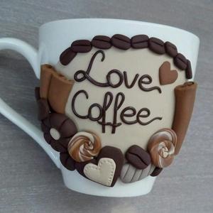 Kávés csésze, kávés díszítéssel, Otthon & Lakás, Konyhafelszerelés, Bögre & Csésze, Gyurma, A reggeli kávé aranyat ér! Te is így gondolod? :)\n\nTedd színesebbé a reggeleidet, ezzel az aranyos, ..., Meska