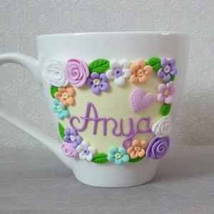 Virágos kávés csésze, Otthon & Lakás, Konyhafelszerelés, Bögre & Csésze, Gyurma, Ezt a tavaszi hangulatú bögrét a virágok szerelmeseinek ajánlom. Szépséges színeivel varázsolja el a..., Meska