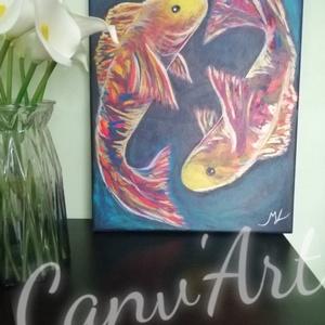 Örök körforgás - Vászonkép, Otthon & lakás, Dekoráció, Kép, Festészet, Amikor látjuk a halakat úszni akár az akváriumban akár természetes élőhelyükön, gyönyörködünk megnyu..., Meska