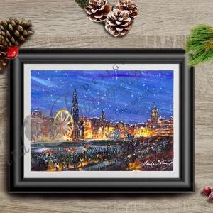Karácsonyi Kép, Adventi Képeslap, Téli táj festmény, Karácsonyi Dekoráció , Karácsonyi képeslap, Karácsony & Mikulás, Otthon & Lakás, Festészet, Fotó, grafika, rajz, illusztráció, A/4-ös méretű nyomtatott kép, Print lap, keret nélkül\n\nA nyomat saját festményemről készült ami egy ..., Meska