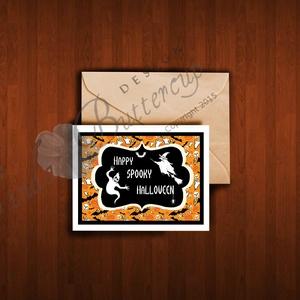 Halloween Képeslap, Halloween Üdvözlőlap, Őszi narancssárga lap (LindaButtercup) - Meska.hu