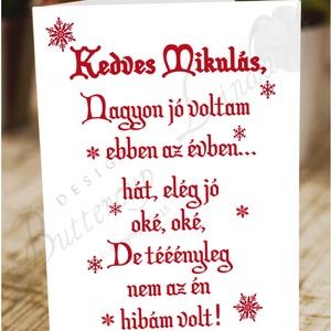 Karácsonyi Képeslap, Adventi Képeslap, Vicces Karácsonyi lap, Karácsonyi Szerelmes üdvözlőlap , Karácsonyi képeslap, Karácsony & Mikulás, Otthon & Lakás, Fotó, grafika, rajz, illusztráció, Mindenmás, A/6-os méretű VICCES Igényes Egyedi Karácsonyi képeslap, piros borítékkal.\n\nA saját magam által terv..., Meska