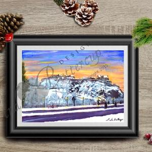 Karácsonyi Kép, Adventi Képeslap, Téli táj festmény, Karácsonyi Dekoráció  (LindaButtercup) - Meska.hu
