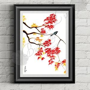 Őszi Dekoráció, Japán festett Kép, madár festmény (LindaButtercup) - Meska.hu