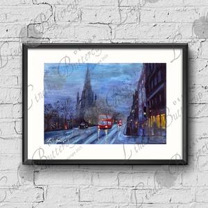 Őszi Dekoráció, London város, Esős táj festmény, Skót Város, Hangulatos ódon kis város, Művészi nyomat, Művészet, Festészet, Fotó, grafika, rajz, illusztráció, A/4-es méretű nyomtatott kép. Skócia, EDINBURGH\n\n* KERET NÉLKÜL *\nA termék:  1db A4-es méretű nyomta..., Meska