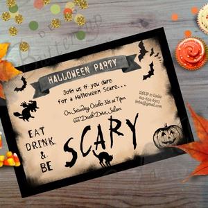 Halloween Party Meghívó, Halloween Üdvözlőlap, Őszi narancssárga lap, Otthon & Lakás, Meghívó, Papír írószer, A/6-os méretű Halloween Party Meghívó, narancssárga borítékkal.  1 oldala, hátulja üres.  550ft / db..., Meska