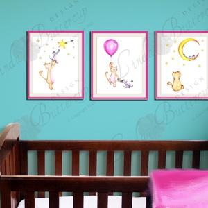 Babaszoba Dekoráció, Cica festmény, Baba-mama-gyerek, Gyerekszoba, Baba-mama kellék, Otthon, lakberendezés, macska, egér (LindaButtercup) - Meska.hu