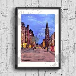 Őtthoni Dekoráció, Anglia, Skót Város, Éjszaka, Esti fények, London, Edinburgh, Angol festmény (LindaButtercup) - Meska.hu