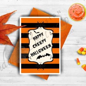 Halloween Képeslap, Halloween Üdvözlőlap, Őszi narancssárga lap, Otthon & Lakás, Képeslap & Levélpapír, Papír írószer, A/6-os méretű Halloween képeslap, narancssárga borítékkal.  A6-os kinyitható üdvözlőlap, belül üres ..., Meska