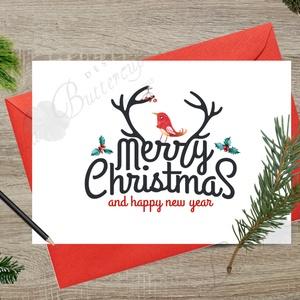 Karácsonyi Képeslap, Adventi Képeslap, Karácsonyi Dekoráció, Karácsonyi üdvözlőlap, Ünnepi képeslap , Karácsonyi képeslap, Karácsony & Mikulás, Fotó, grafika, rajz, illusztráció, Mindenmás, A/6-os méretű Igényes Egyedi Karácsonyi képeslap, piros borítékkal.\n\nA saját magam által tervezett Ü..., Meska