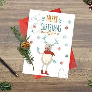 Karácsonyi Képeslap, Adventi Képeslap, Karácsonyi Szarvas, Karácsonyi üdvözlőlap, Ünnepi képeslap, Rudolf (LindaButtercup) - Meska.hu