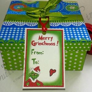 Karácsonyi Ajándékkísérő, Grincs Adventi Kartya, Karácsonyi Dekoráció, Unnepi Ajándékkísérő, grinch  (LindaButtercup) - Meska.hu