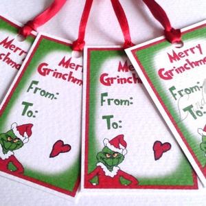 Karácsonyi Ajándékkísérő, Grincs Adventi Kartya, Karácsonyi Dekoráció, Unnepi Ajándékkísérő, grinch , Otthon & Lakás, Ajándékkísérő, Papír írószer, 6 DB 8.4cm X  5.4cm méretű Igényes Egyedi Karácsonyi Grinches Ajándékkísérő szalaggal.  A saját maga..., Meska