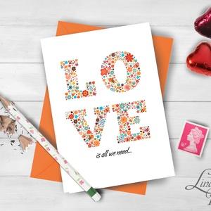 Valentin napi Képeslap, Szerelmes Képeslap, Valentin üdvözlőlap, I love you, Szeretlek, virágos lap, love (LindaButtercup) - Meska.hu