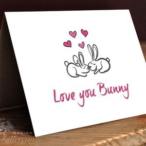 Valentin napi Képeslap, Szeretlek Képeslap, Valentin üdvözlőlap, Nyuszi, I love you, Szerelmes, Nyuszis képeslap (LindaButtercup) - Meska.hu