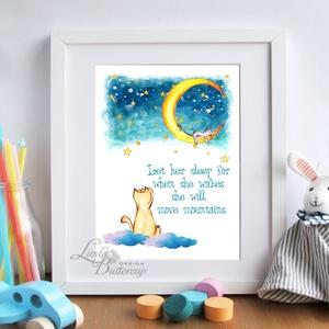 Babaszoba Dekoráció, Cica festmény, Baba-mama-gyerek, Gyerekszoba, Baba-mama kellék, Otthon, lakberendezés, cica, macska (LindaButtercup) - Meska.hu