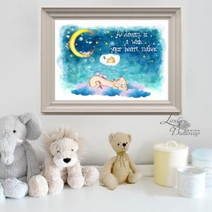 Babaszoba Dekoráció, Disney idézet, Cica festmény, Babaszoba kép, Falikép, Gyerekszoba, Egér, hold, csillagok  (LindaButtercup) - Meska.hu