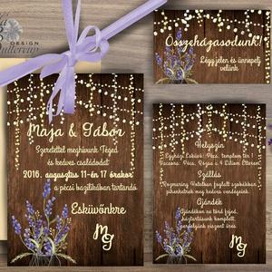 Levendula Virágos Esküvői meghívó, Pajta Esküvő, falu, Vintage Esküvői lap, vad virág, Rusztikus, Bohém (LindaButtercup) - Meska.hu