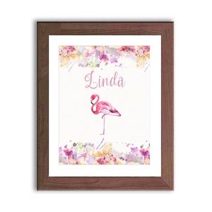 Babaszoba Dekoráció, Flamingó festmény, Virágos kép, virág falikép, állat, madár, Baba, gyerek,Gyerekszoba (LindaButtercup) - Meska.hu