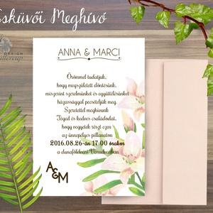 Esküvői meghívó, Liliom Virágos Esküvői lap, Esküvő Képeslap, Liliom virág, virágos meghívó, nyári (LindaButtercup) - Meska.hu