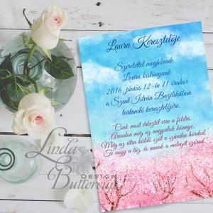 Keresztelő meghívó, kislány, baba lap, baby, baby girl, rózsaszín meghívó, képeslap, újszülött, megérkeztem (LindaButtercup) - Meska.hu