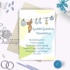 Babaváró képeslap Gratulálunk Babaköszöntő képeslap, Megérkeztem lap, Keresztelő, kisfiú, kislány, baba, baby, újszülött, Képeslap & Levélpapír, Papír írószer, Otthon & Lakás, Festészet, Fotó, grafika, rajz, illusztráció, A/6-os méretű Aranyos Egyedi tervezésű Gratulálunk üdvözlőlap, fényes borítékkal.\n\n250 gsm matt, fin..., Meska