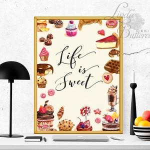 Konyhai falikép, Konyha dekoráció, Cukrászda, Édesség, Süti, torta, muffin, csoki, cukor, pékség, festmény (LindaButtercup) - Meska.hu
