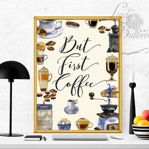 Konyhai falikép, Konyha dekoráció, Kávé, Cappucino, Kávézó, Cukrászda, Édesség, Süti, csoki, tea, festmény (LindaButtercup) - Meska.hu