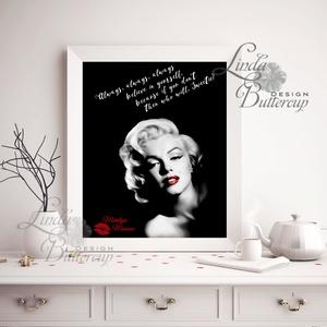 Marilyn Monroe, Falikép, Retro Poster, Retro kép, Amerikai, Vintage, Idézet, csók, Sexy, piros, vörös, modern (LindaButtercup) - Meska.hu