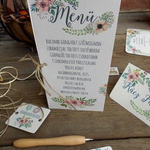 Esküvői Menü, Rusztikus Esküvő, Virágos Étlap, Itallap, Italok, Vacsora, mezei virágok, Vintage Esküvő, Party, réti (LindaButtercup) - Meska.hu