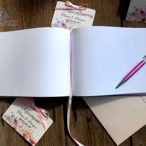 Rózsás Emlékkönyv, Esküvői Vendéggkönyv, arany, rózsaszín,  Virágos könyv, rózsa, vízfesték, Esküvő elegáns könyv, napló (LindaButtercup) - Meska.hu