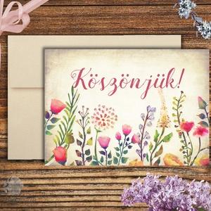 Köszönet képeslap, Esküvői meghívó, Esküvői lap, koszorúslány kérő, tanú, virágos lap, menyasszony, köszönet (LindaButtercup) - Meska.hu