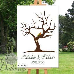 Esküvői ujjlenyomat fa, Zöld madár, Esküvői fa, szerelmes madár pár, Emlék, Esküvői dekor, Fa festmény (LindaButtercup) - Meska.hu