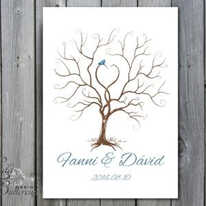 Esküvői ujjlenyomat fa kép feszített vásznon, Esküvői fa, szerelmes madár pár, Emlék, Esküvői dekor (LindaButtercup) - Meska.hu