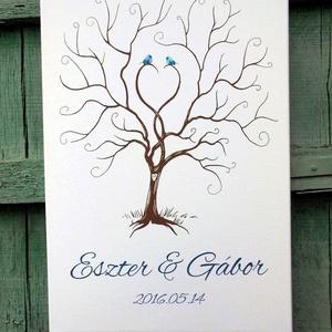Esküvői ujjlenyomatfa, vászon kép Esküvői fa, szerelmes madár pár, Fa festmény, Esküvői dekor (LindaButtercup) - Meska.hu
