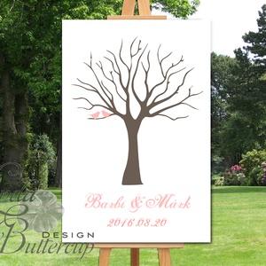Ujjlenyomatfa, A3, Esküvői fa, Esküvői ujjlenyomat fa, szerelmes madár pár, Esküvői dekor, Fa festmény (LindaButtercup) - Meska.hu