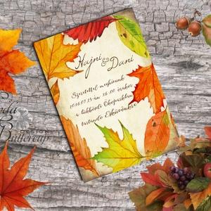 Őszi Party meghívó, Rusztikus Esküvő, Vintage Esküvő, Halloween képeslap, rusztikus, őszi levelek, Esküvő, Meghívó, Meghívó & Kártya, Őszi Rusztikus Meghívó akár Partyra vagy Esküvőre gyönyörű prémium borítékkal.  Hívd meg vendégeidet..., Meska