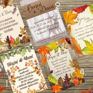 Őszi Party meghívó, Rusztikus Esküvő, Vintage Esküvő, Halloween képeslap, rusztikus, őszi levelek (LindaButtercup) - Meska.hu
