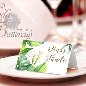 Esküvői ültetőkártya, meghívó, Zöld Virágos, Zöld Esküvői dekor, Nyári Esküvő, Kála (LindaButtercup) - Meska.hu