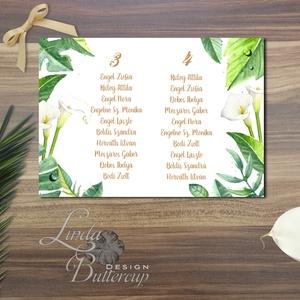 Nyári Esküvő, Ültetési rend, Esküvői Ültetésrend, Trópusi, levelek, Esküvő ültető kártya, Zöld, Party (LindaButtercup) - Meska.hu