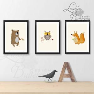 Babaszoba Dekoráció 13x18cm, Állatok festmény, Erdei állat, vad állatok falikép, Gyerekszoba dekor, medve,mókus,róka (LindaButtercup) - Meska.hu