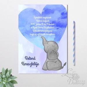 Keresztelő meghívó, kisfiú, baba lap, baby, baby boy, kék meghívó, képeslap, elefánt, mama kellék, Képeslap & Levélpapír, Papír írószer, Otthon & Lakás, Festészet, Fotó, grafika, rajz, illusztráció, Minőségi Meghívó\n\n* MEGHÍVÓ CSOMAG BORÍTÉKKAL:\n- Meghívó egy lap, egy oldalas: kb.: 14cm x 10cm\n- BO..., Meska
