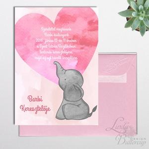 Keresztelő meghívó, kislány, baba lap, baby, baby girl, rózsaszín meghívó, képeslap, baba dekor, mama kellék (LindaButtercup) - Meska.hu