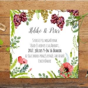 Rusztikus Esküvői meghívó, boros pince, szőlő, bor, Rusztikus Esküvői lap, tavaszi, vadvirágos meghívó (LindaButtercup) - Meska.hu