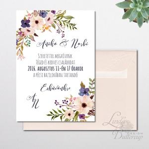 Nyári Esküvői meghívó, Nyári Esküvő, Tenger kék meghívó, Barack virágok, nyári virágos meghívó, Modern (LindaButtercup) - Meska.hu