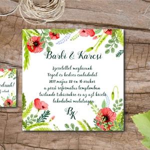 Nyári Réti Virágos Esküvői meghívó, réti pipacs, vadvirág, Rusztikus Esküvői lap, nyári meghívó (LindaButtercup) - Meska.hu