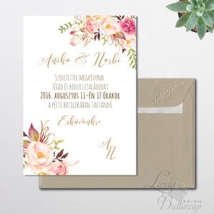 Vintage Esküvői meghívó, Nyári Esküvő, arany, elegáns, romantikus, virágos meghívó, rózsás, rusztikus (LindaButtercup) - Meska.hu