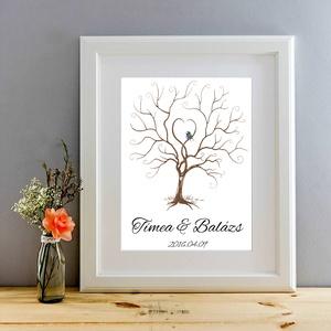 Esküvői ujjlenyomat fa kép, A2, Esküvői fa, szerelmes madár pár, Emlék, Esküvői dekor (LindaButtercup) - Meska.hu