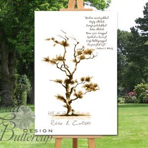 Japán stílusú, Esküvői ujjlenyomat fa kép feszített vásznon, Esküvői fa, Emlék, Esküvői dekor, Bonsai (LindaButtercup) - Meska.hu